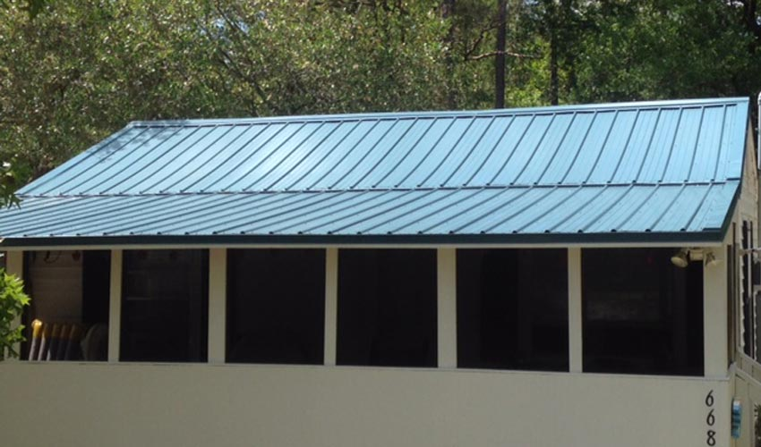 Atlantic Roofing Company Multirib Roofing Blue Shed