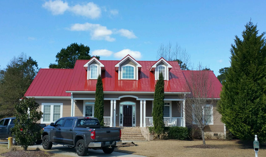 5V Metal Roofing Red Front Wilmington, NC