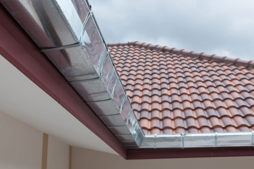 Stainless steel gutters on a house