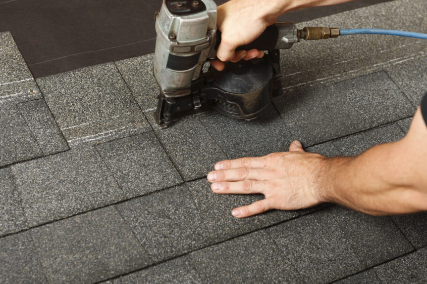 applying roof shingles with a roofing gun