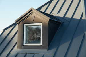 modern design vertical roof window with black light metal covering