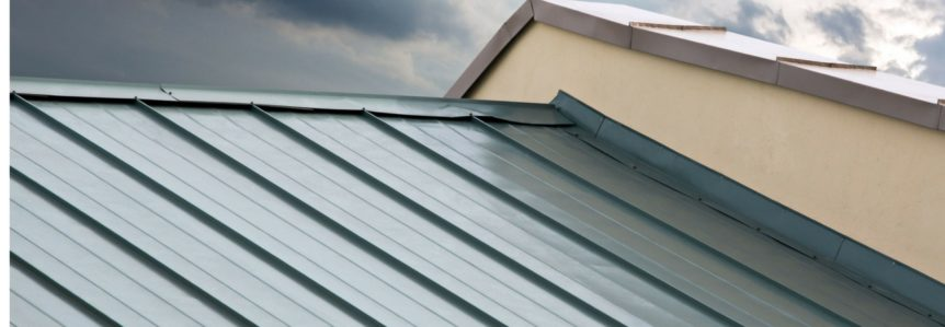 close up of a green metal roof installed by metal roofing contractors