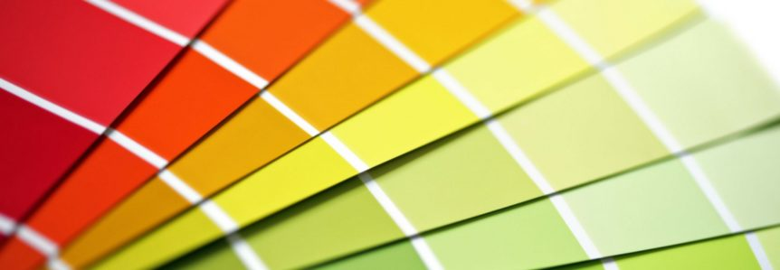 color swatches in red, orange and yellow to complement a blog about metal roofing color options
