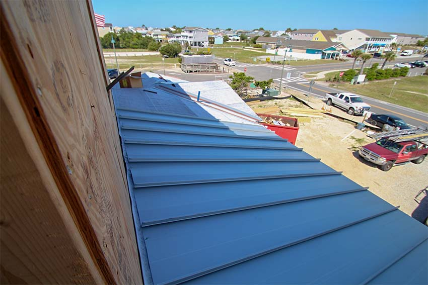 Metal roof installation at King Fish Bay