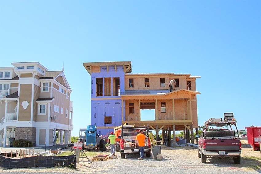 Houses under construction at King Fish Bay